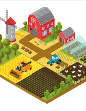 Rural farm 3d isometric template concept with mill, garden, trees, agricultural vehicles, farmer house and greenhouse game or app vector illustration